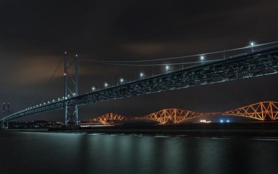 Papéis de Parede Ponte, rio, luzes, noite