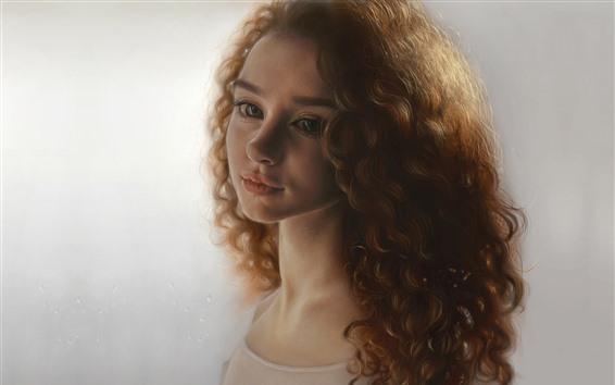 Fondos de pantalla Chica de cabello castaño, rizos, cara, retrato