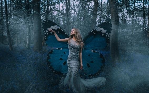 Wallpaper Butterfly elf girl, wings, forest