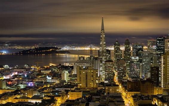 Обои Калифорния, Сан-Франциско, городская ночь, здания, огни