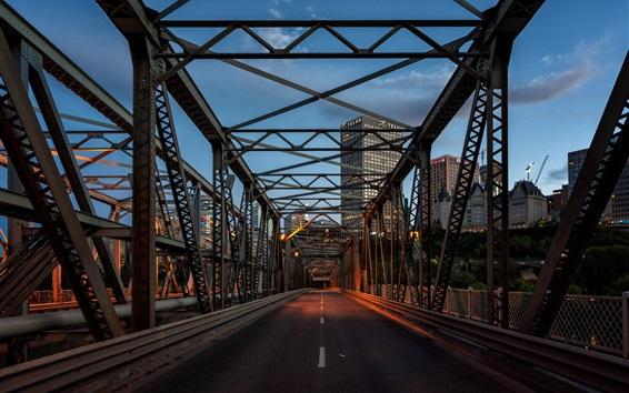 Обои Канада, Альберта, Эдмонтон, мост, город, сумерки