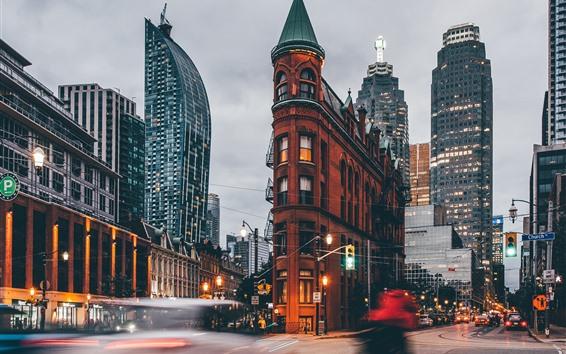Papéis de Parede Canadá, ontário, Gooderham predios, cidade, rua, anoitecer, luzes