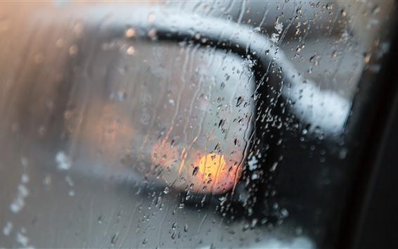Fondos de pantalla Espejo retrovisor del coche, lluvia, gotas de agua