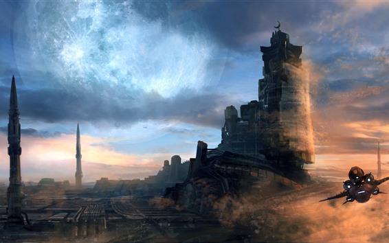 Papéis de Parede Castelo, navio, espaço, planeta, sci-fi, imagens de arte