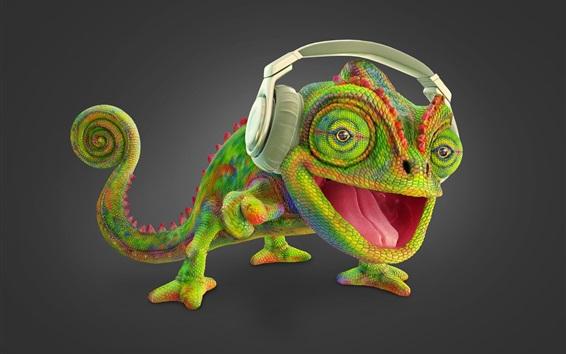 Wallpaper Chameleon listen music, headphone, creative picture