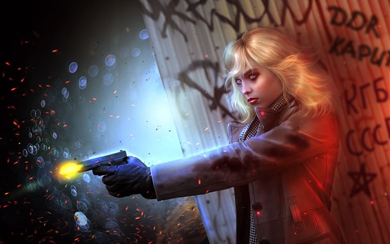 Fondos de pantalla Charlize Theron, chica rubia, asesina, pistola, imagen de arte