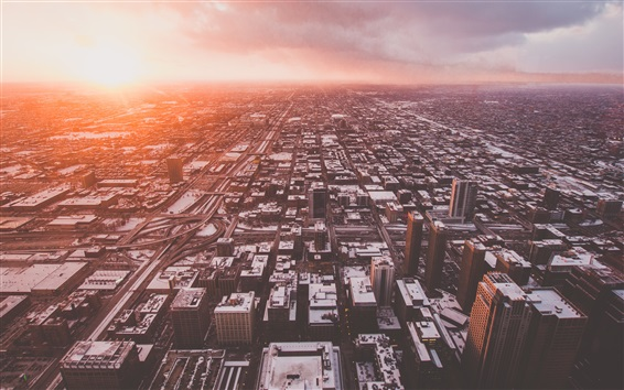 Wallpaper Chicago, USA, city, top view, clouds, sunrise