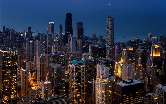 Wallpaper Chicago, megapolis, city, skyscrapers, lights, night, USA