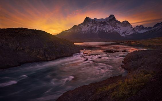 Fond d'écran Chili, patagonia, rivière paine, montagnes, coucher soleil