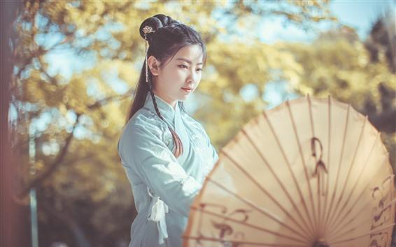 壁紙 中国の女の子、レトロスタイル、傘