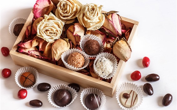 Wallpaper Chocolate candy, dry roses, still life