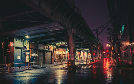 Wallpaper City night, Tokyo, Japan, street, rail bridge, lights