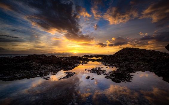 Обои Побережье, море, океан, облака, закат