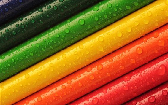 Fond d'écran Crayons colorés, gouttelettes d'eau