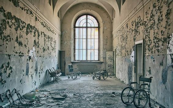 Wallpaper Corridor, chairs, window, doors, ruins