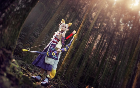 Wallpaper Cosplay fox elf girl, ears, bow, forest