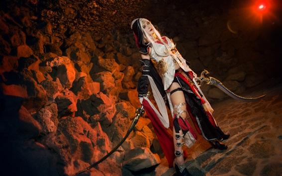 Fond d'écran Fille de cosplay, cheveux blancs, épée