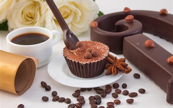 壁紙 カップケーキ、コーヒー、チョコレート、スパイス、バラ