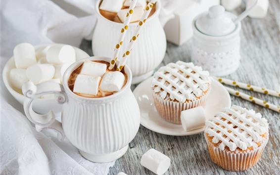 壁紙 カップケーキ、マシュマロ、クリーム、デザート