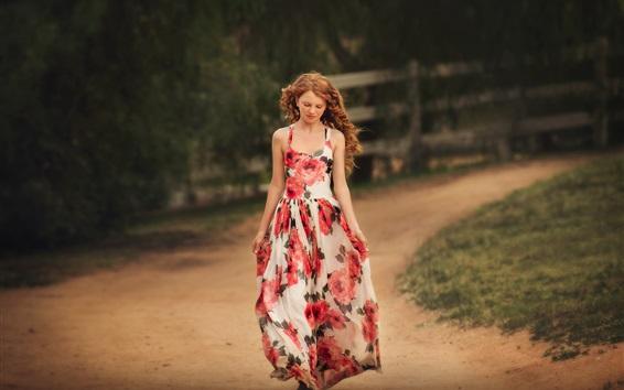 Wallpaper Curly hair girl, walk, road, skirt, summer