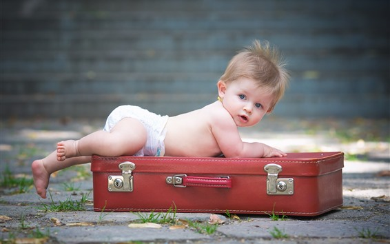 Wallpaper Cute baby boy and suitcase