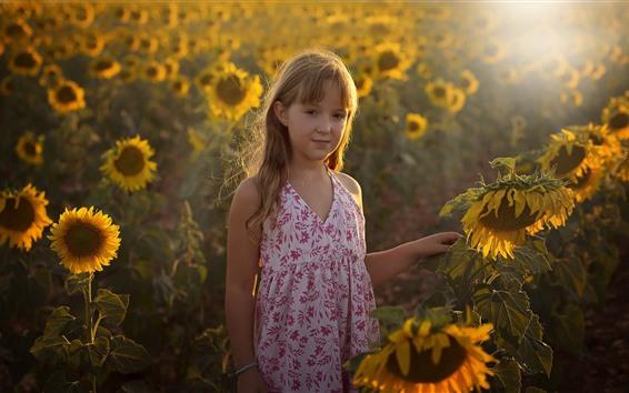 Fond d'écran Jolie petite fille, tournesols, rayons de soleil