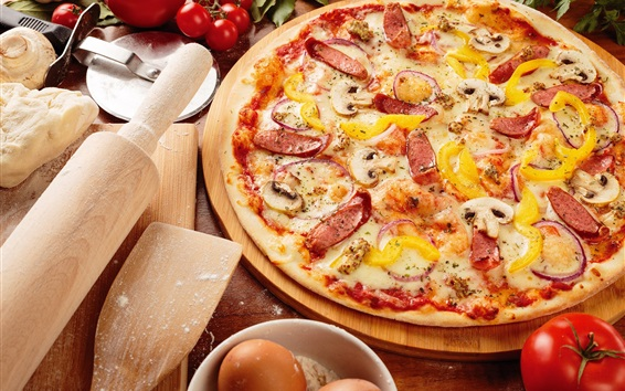 Обои Вкусная пицца, помидоры, яйца