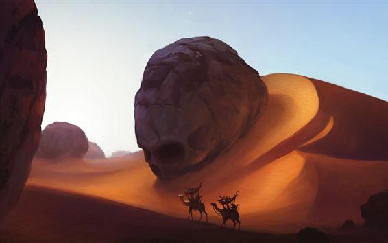 壁紙 砂漠、砂丘、ラクダ、アート写真