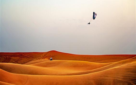 Обои Пустыня, параглайдинг, экстремальный спорт
