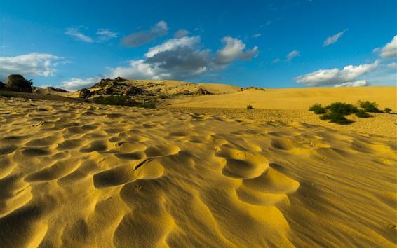 배경 화면 사막, 모래, 구름, 하늘