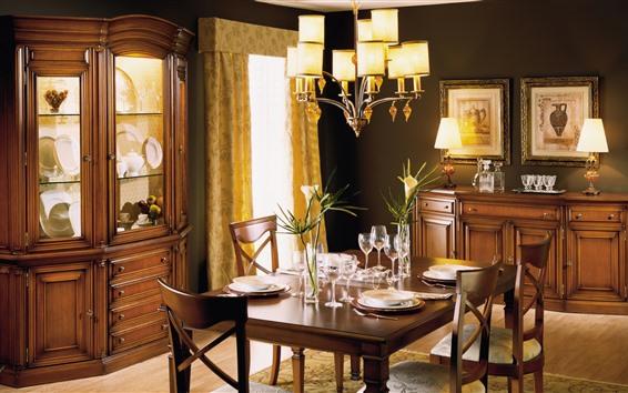 Wallpaper Dining Room Table Furniture Lights Interior