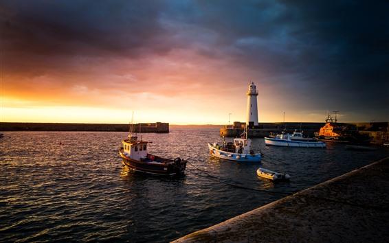 Wallpaper Donaghadee, UK, boats, sea, lighthouse, sunset