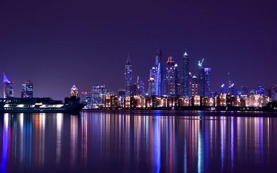 Wallpaper Dubai, UAE, city night, skyscrapers, river, water reflection, lights
