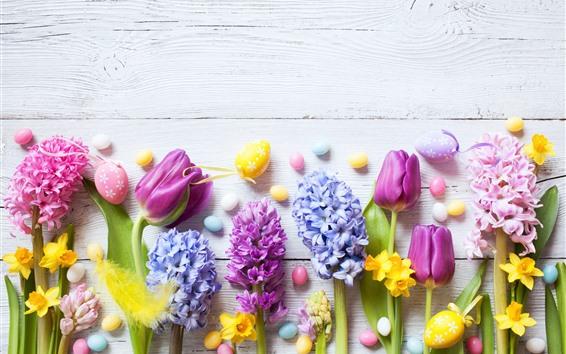 Fond d'écran Pâques, fleurs colorées, jonquilles, tulipes, jacinthe, oeufs