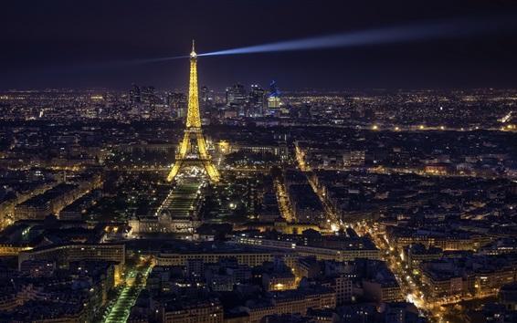 Hintergrundbilder Eiffelturm, Stadt Nacht, Beleuchtung, Paris, Frankreich