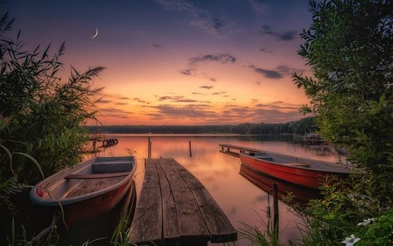 Fond d'écran Angleterre, nord, yorkshire, bateaux, rivière, coucher soleil