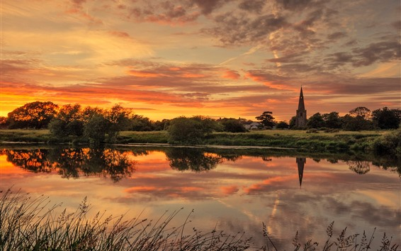 Wallpaper England, Trent River, church, trees, clouds, sunset