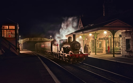 Wallpaper England, retro style, train, station, night