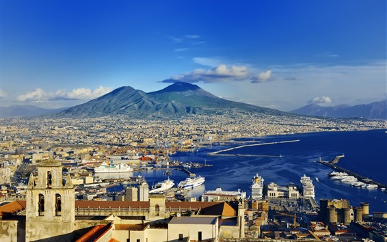 Fond d'écran Europe, Italie, Naples, côte, ville