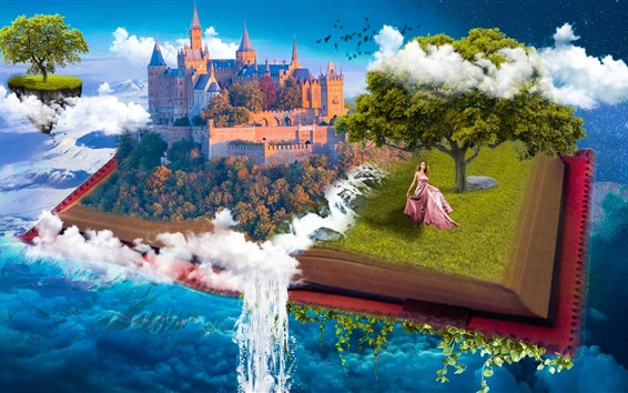 Wallpaper Fantasy, book, castle, tree, girl, waterfall, creative design