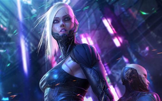 Wallpaper Fantasy girl, cyborg, sci-fi picture