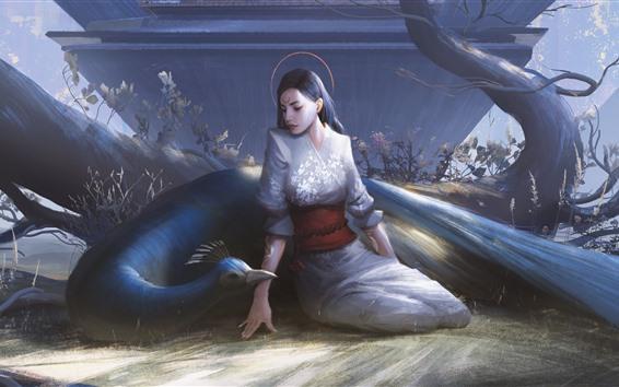 Wallpaper Fantasy girl, peacock, kimono, art picture