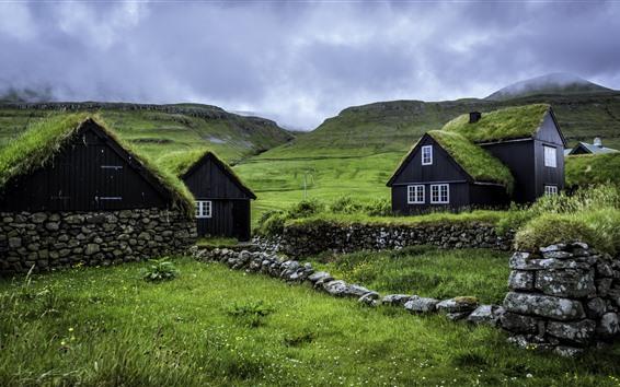 Wallpaper Faroe Islands, houses, green grass, clouds