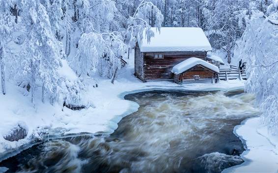 Wallpaper Finland, snow, river, trees, hut