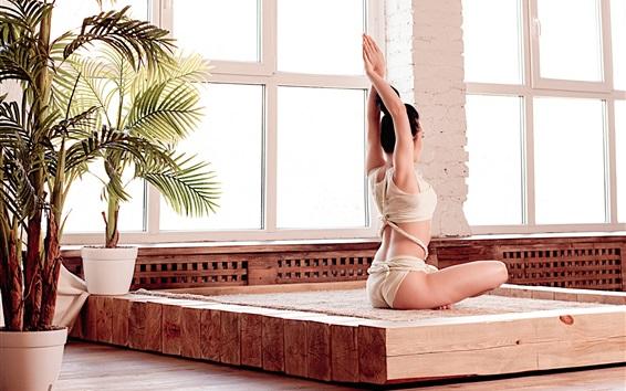 Wallpaper Fitness girl, yoga, pose, asana