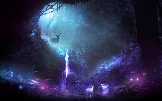 Papéis de Parede Floresta, veados brilhantes, imagem criativa