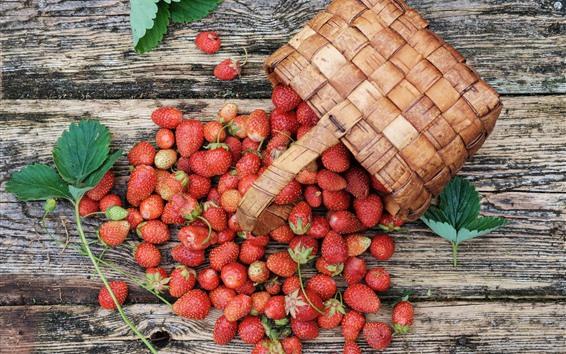 Wallpaper Fresh strawberry, delicious fruit, basket