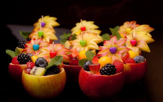 Fondos de pantalla Postre de frutas, deliciosa comida, tazón de manzana y flor, creativo