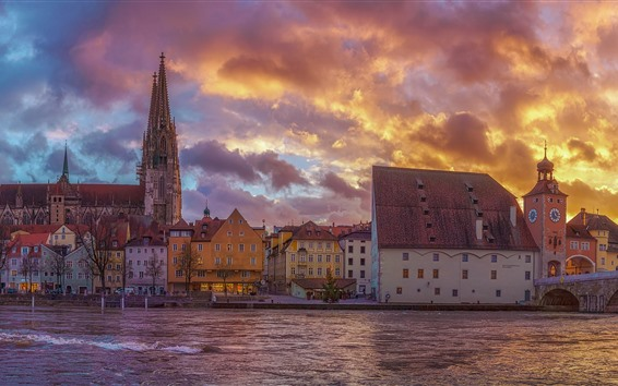 Wallpaper Germany, Bayern, city, houses, river, bridge, clouds, dusk