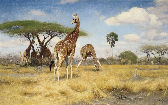 Papéis de Parede Girafas, pintura de arte